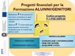 progetti finanziati per la formazione alunni genitori