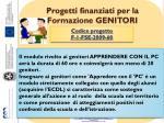 progetti finanziati per la formazione genitori