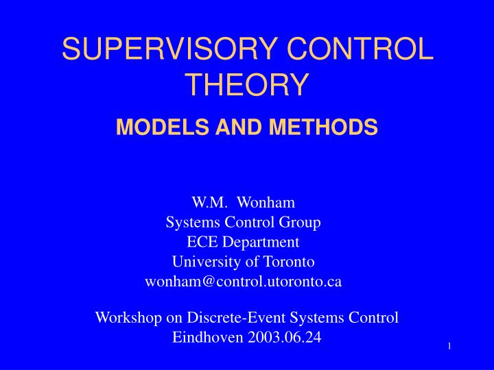 supervisory control theory n.