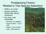 predisposing factors related to tree species adaptation