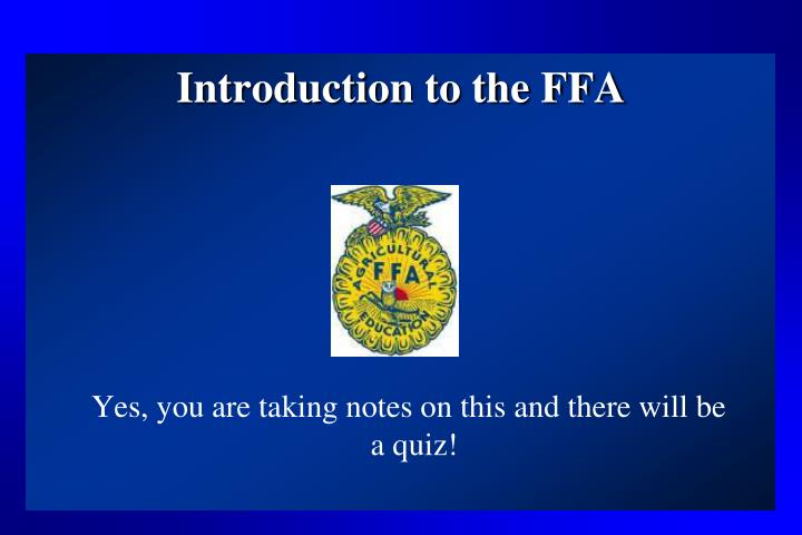 introduction to the ffa n.
