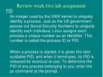 review week five lab assignment2