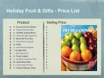 holiday fruit gifts price list