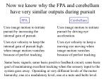 now we know why the fpa and cerebellum have very similar outputs during pursuit1