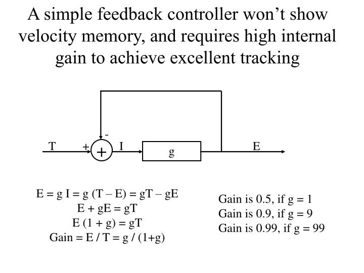 A simple feedback controller won't show velocity memory, and requires high internal gain to achieve excellent tracking