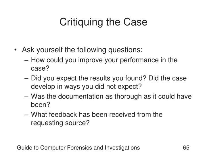 Critiquing the Case