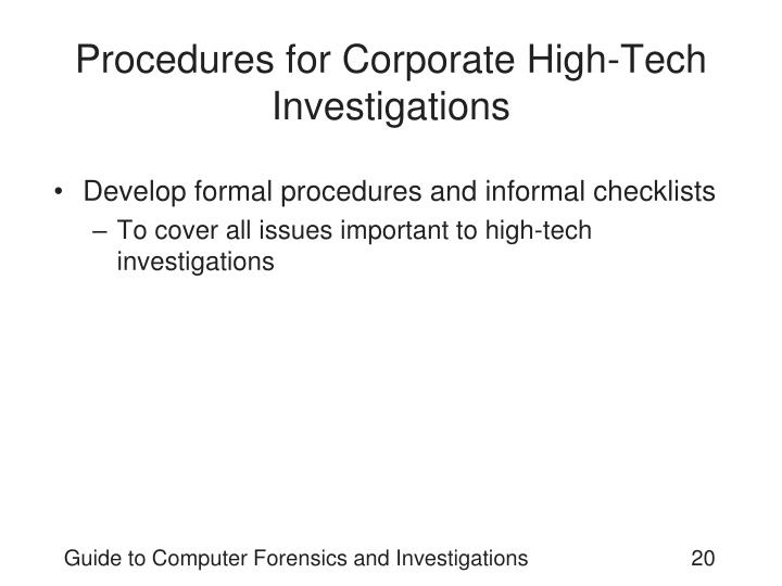 Procedures for Corporate High-Tech Investigations