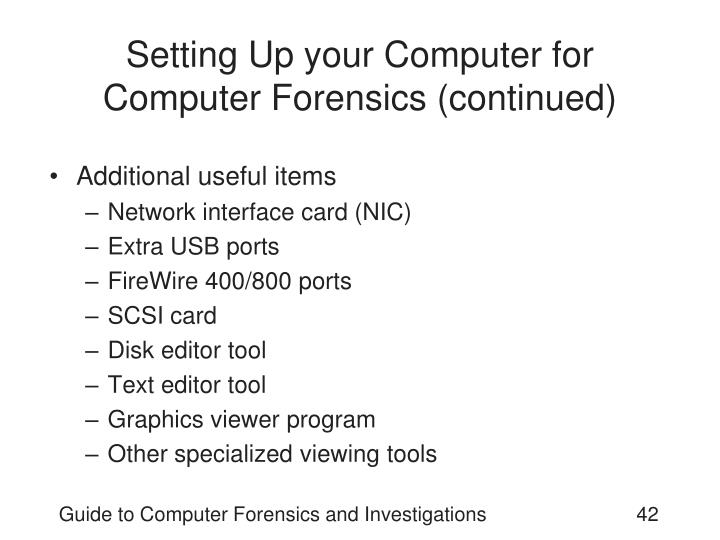 Setting Up your Computer for Computer Forensics (continued)