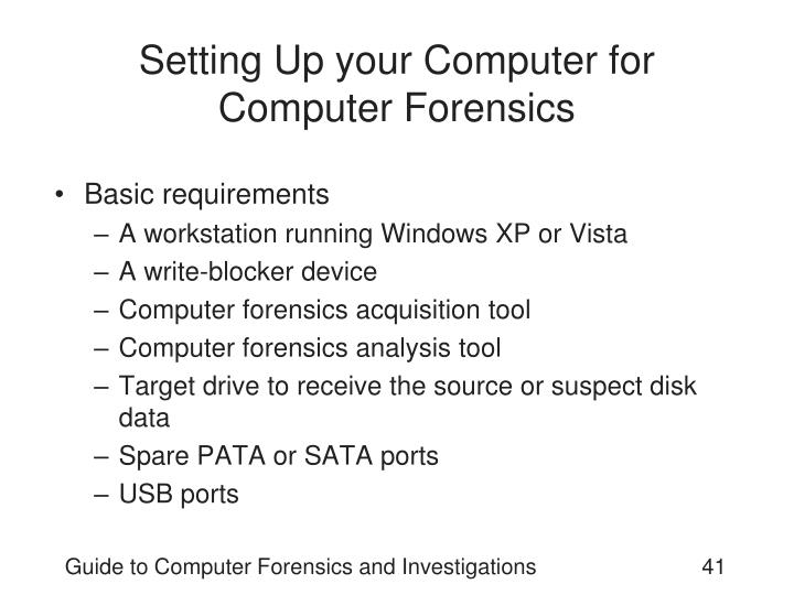 Setting Up your Computer for Computer Forensics