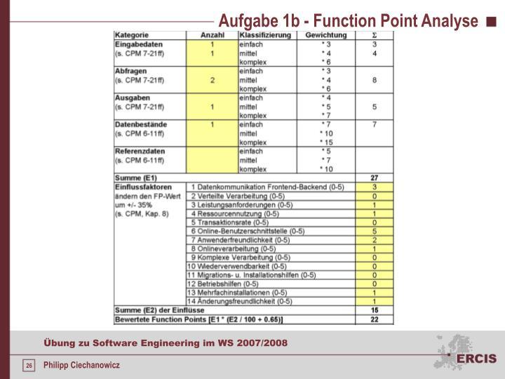 Aufgabe 1b - Function Point Analyse