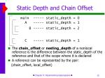 static depth and chain offset