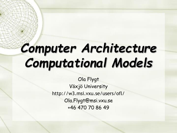 computer architecture computational models n.