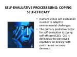 self evaluative processesing coping self efficacy