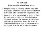 the in class intervention confrontation