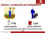 salarios producci n por trabajador h