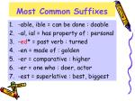 most common suffixes