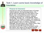 task 1 learn some basic knowledge of insurance