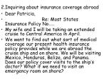 2 inquiring about insurance coverage abroad