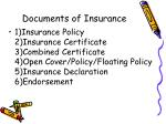 documents of insurance