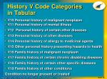history v code categories in tabular