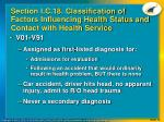 section i c 18 classification of factors influencing health status and contact with health service