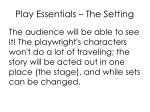 play essentials the setting