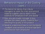 behavioral impact of std costing cont