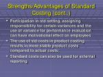 strengths advantages of standard costing cont