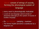 words consist of strings of sounds forming the phonological system of language