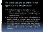 the micro design side of the french approach the art of insertion