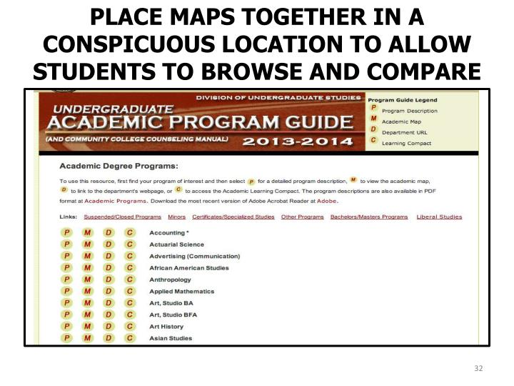 PLACE MAPS TOGETHER IN A CONSPICUOUS LOCATION TO ALLOW STUDENTS TO BROWSE AND COMPARE