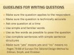 guidelines for writing questions