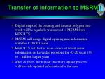 transfer of information to msrm