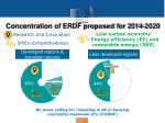 concentration of erdf proposed for 2014 2020