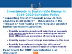 investments in sustainable energy in 2014 2020 cohesion policy1