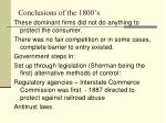 conclusions of the 1800 s