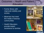 outcomes health and patient education