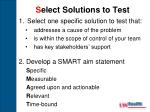 s elect solutions to test