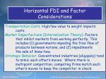 horizontal fdi and factor considerations