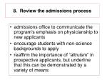 8 review the admissions process