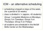 icm an alternative scheduling