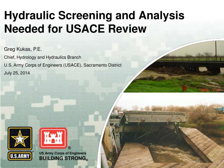 hydraulic screening and analysis needed for usace review n.
