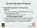 screening level analysis