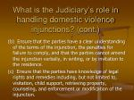 what is the judiciary s role in handling domestic violence injunctions cont