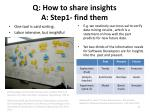 q how to share insights a step1 find them