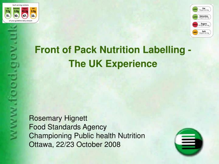 front of pack nutrition labelling the uk experience n.