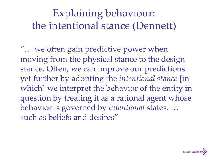 Explaining behaviour: