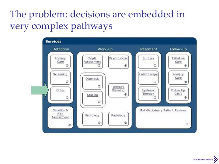 The problem: decisions are embedded in very complex pathways