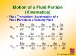 motion of a fluid particle kinematics4