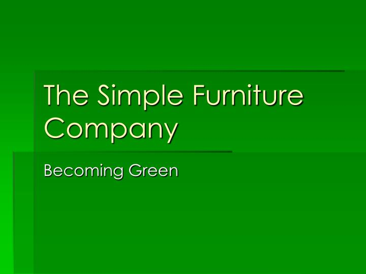 the simple furniture company n.